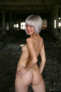 Newcomer Kolila bares her short, gray hair and petite body outdoors.