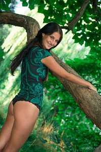 Kat-O flaunts her nubile body and playfully poses in the jungle for her debut series.