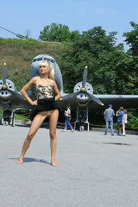 As soon as this indescribable angel appeared on the military area she immediately went to take some nude photos of hers.