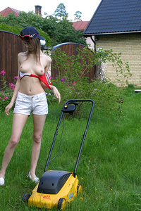 Right in the garden pretty teen girl displays everything what she got.